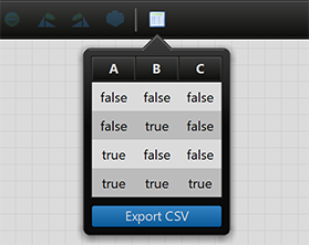 Truth Table with Export CSV button