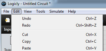 Screenshot of Logicly Edit menu with Undo and Redo